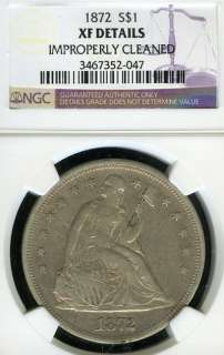 1872 NGC XF DETAILS IMP. CLEANED LIBERTY SEATED SILVER DOLLAR S$1 FC92