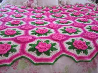 Crochet Rose Afghan Pattern : Vintage Crochet Afghan Throw Pattern Rose Flower Motif