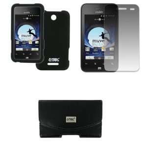 EMPIRE ZTE Score Black Leather Case Pouch with Belt Clip