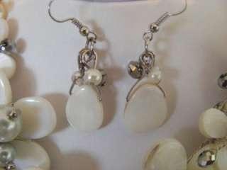 HANDMADE WHITE SHELL, PEARL CRYSTAL FLOWER NECKLACE & EARRINGS