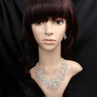 ARINNA Rhinestone Circle Necklace Earring Jewelry Set Swarovski Clear