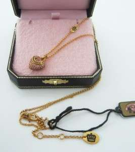 Juicy Couture Wish Pave Heart Necklace Gold Tone Pink Stone $48