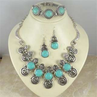 Turquoise Necklace Bracelet Earring Snail Jewelry Set S016