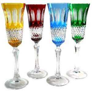 Adel Cased Crystal Champagne Flute Set of 4: Kitchen