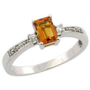 Stone Ring, w/ 0.75 Total Carat Emerald Cut 6x4mm Citrine Stone