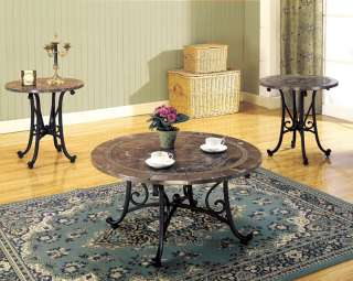 Faux Marble Top Round Coffee Table