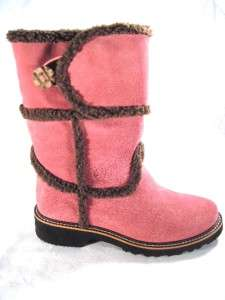 New Ariat Aspen snow winter boots Rose Pink suede fur trim Womens 7