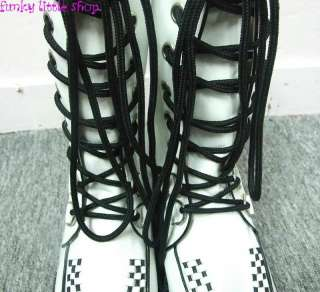 Punk Rock Emo Gothic white motorcycle boots EUR 35 45