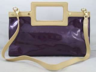 IMAN Purple Patent Logo Embossed Luxury Handbag New