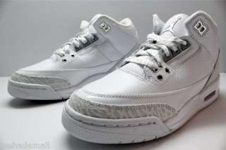 Nike Air Jordan 3 III Sz 5.5 Y GS Retro White Metallic Silver 398614