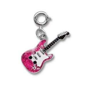 Rock Star Hot Pink Guitar Charm For Childrens Bracelets