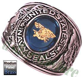US Navy Seals Military Rhodium Plated Ring New