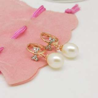 Fashion New Hot Crystal Rose Gold Plating Silver Pearl Bowknot Earring