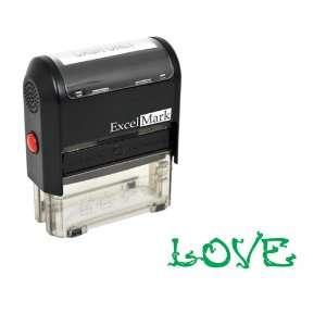 Valentines Day Rubber Stamp   Love Stamp   Green Ink