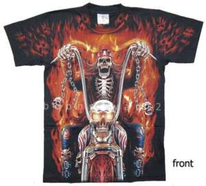 Fire Skull Biker Devil Discharge T Shirt G66 New Size L