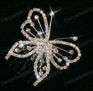 BUTTERFLY rhinestone CRYSTAL HAIR COMB clip/pin BRIDAL