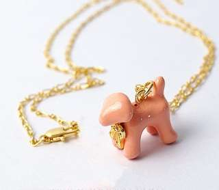 Cute Lovely Bow Pink Pet Dog Pendant Sweater Chain Necklace New