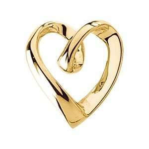 Slide 14K White Gold Heart Shaped Pendant Slide Jewelry