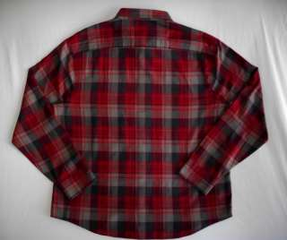 Mens PENGUIN Red Gray Plaid Flannel Shirt Classic Fit XXL 2XL NWT