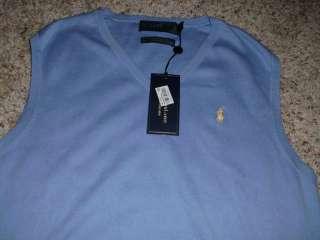 Mens POLO RALPH LAUREN Light Blue Sweater Vest L NWT