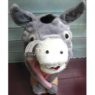 Cartoon animal grey donkey adult plush cap H1407