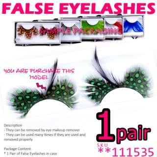Polka Dot Green Feather False Eyelashes . Fake Eye Lashes Extension