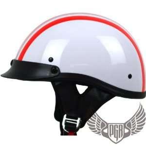 Crusier Style Skull Cap DOT Approved (MEDIUM, Retro White Red Stripe