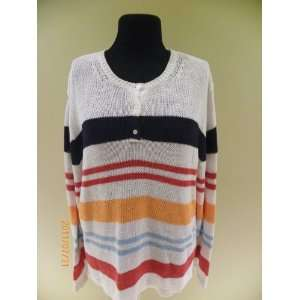 Eddie Bower White, Red Blue& Yellow Sweater Size L