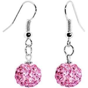 10mm Pink Austrian Crystal Ferido Ball Drop Earrings Jewelry