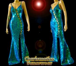 BLUE CLEAVAGE ROUGE DIVA Sequin Drag queen pageant Gown