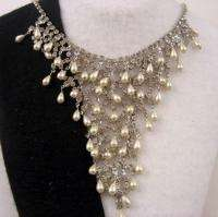 Drippy Runway Couture faux Pearl Crystal Drape Necklace
