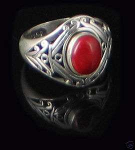 Sterling Silver Filigree REAL Red Coral Ring size 7