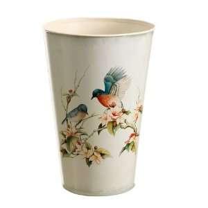 6.25dx9.5h Tin Blue Bird/Blossom Decoupage Pot Blue