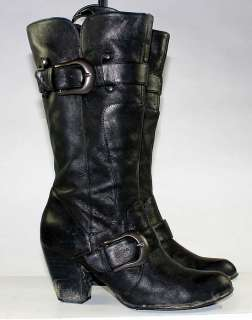 BORN BLACK LEATHER ZIPPER/BUCKLE FASHION STACKED HEEL BOOTS WOMENS sz