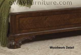 King Platform Bed Bedroom Set Cherry Finish Hardwood Furniture Master