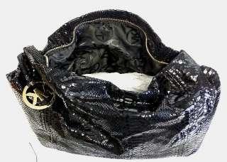 MICHAEL KORS Oversized ID Chain Shoulder Bag Black Python HOBO Handbag