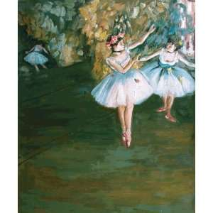Two Dancers on Stage Edgar Degas Hand Painted Art