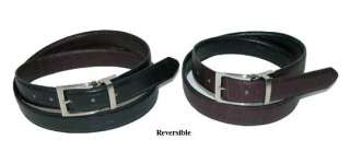 New Mens Black/Brown Croco Reversible Leather Belt E16