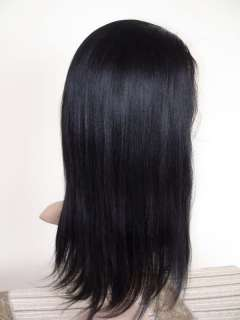 1b# remy indian hair full lace wig yaki straight 14