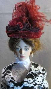 Burgandy a Fascinator Doll Hat on my Lili & Evangeline Ghastly Dolls