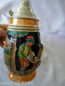 German Lidded Breweriana Beer Stein Egon Bay Drinking Mug Glass Handle