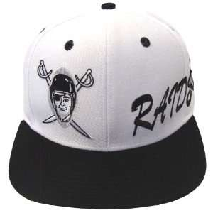 Oakland Raiders Logo & Script Snapback Cap Hat White Black