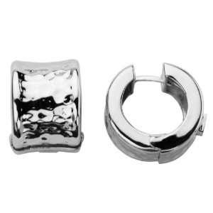 ELLE Jewelry Sterling Silver Hammered Huggie Earring
