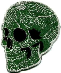 Skull tattoo biker horror goth punk emo rock retro applique iron on