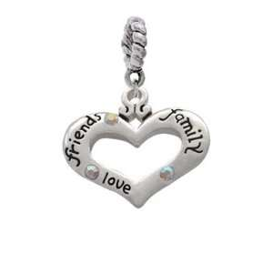 Heart with 3 AB Crystals   Friends, Family, Love Charm