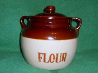 VTG MONMOUTH USA POTTERY FLOUR JAR CANISTER W/LID