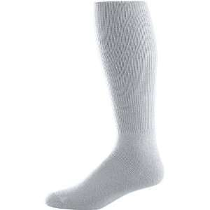 Soccer Tube Socks SILVER GREY ADULT (TUBE SOCK SIZE 10 13) Sports