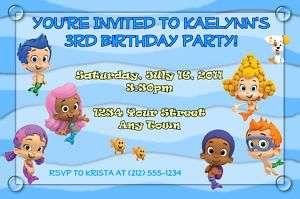 12 Bubble Guppies Custom Birthday Invitations&Envelopes