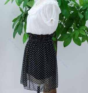 Fashion Korean Lady Chiffon Short sleeve Dots Polka Waist Mini Dress