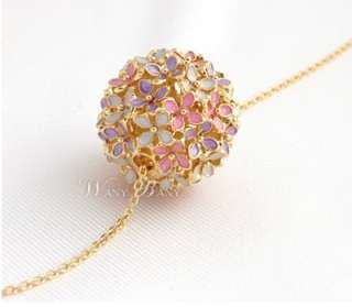 Charming Fashion Cute Gold Plated Colorful Butterfly Flower Ball Long